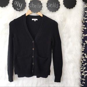 Madewell Black Textured Cotton Cardigan-K10